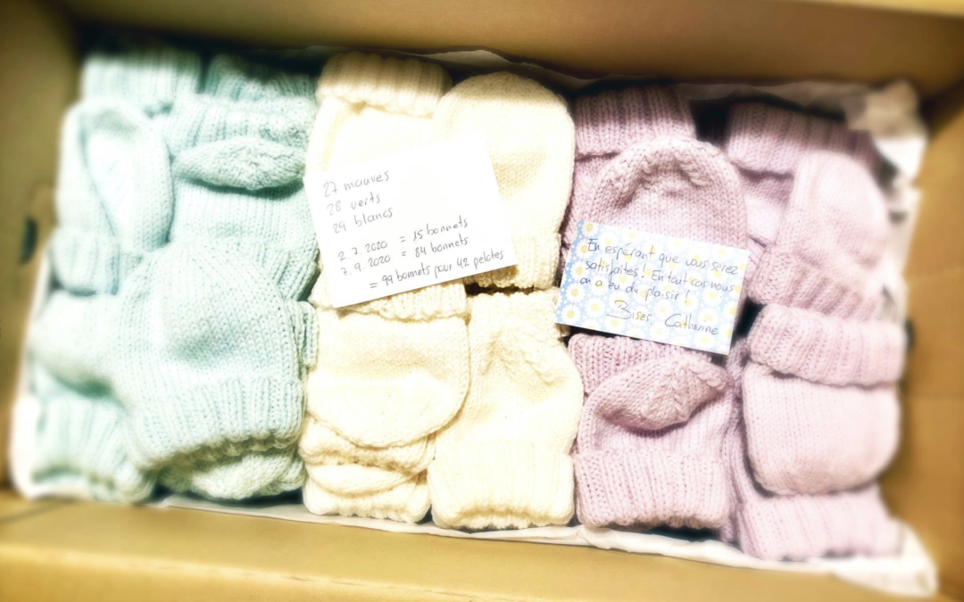 Bonnets tricotés par des bénévoles pour les bébés nés prématurément